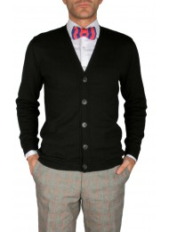 EXTRA FINE WOOL BLACK CARDIGAN