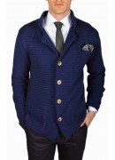 PIMA COTTON AND CASHMERE BLUE KNITTED JACKET