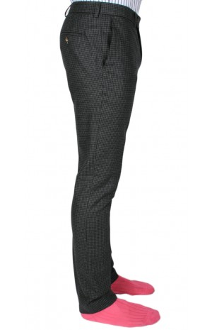 DARK GREY AND NAVY HOUNDSTOOTH TROUSERS