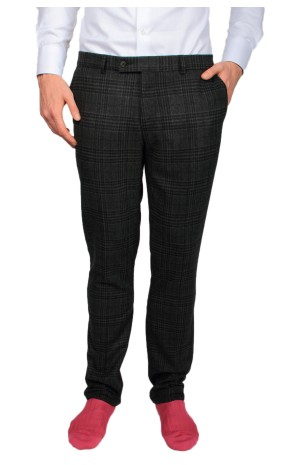 WOOL MIX BLACK, BLUE AND GREY CHECKED TROUSERS