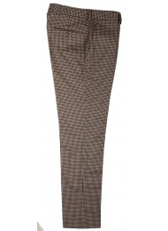 ITALIAN WOOL MIX SMALL CHECK TROUSERS