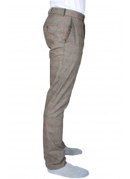 ITALIAN RAW COTTON CHECKED TROUSERS