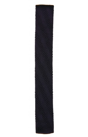 SILK NAVY BLUE KNITTED TIE