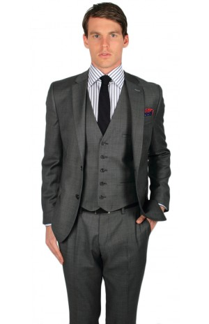 SUPER 110's GREY WOOL SUIT JACKET