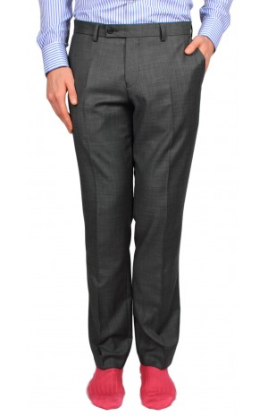 SUPER 110's GREY WOOL TROUSERS