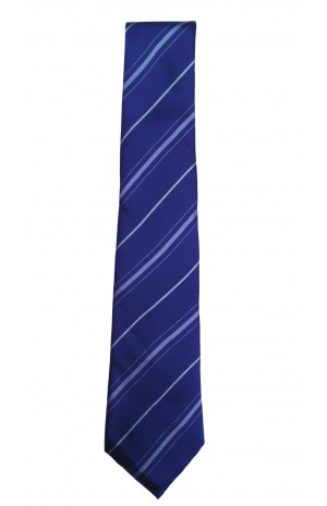 HAND FINISHED SILK NAVY AND BLUE STRIPED TIE
