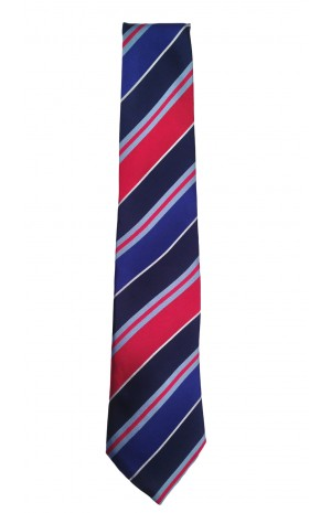 HAND FINISHED IN ENGLAND SILK TIE - BLUE, ACQUA, RED, WHITE