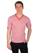 COTTON RED STRIPED V-NECK T-SHIRT