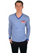 COTTON BLUE STRIPED V-NECK T-SHIRT