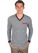 COTTON BLACK STRIPED V-NECK T-SHIRT