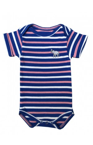 BLUE, PINK AND WHTE STRIPED BABY SUIT