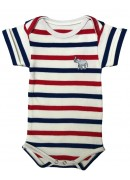 WHITE, RED AND BLUE STRIPED BABY SUIT