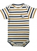 WHITE, YELLOW AND BLUE STRIPED BABY SUIT