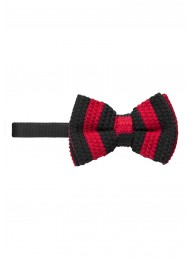 DARK RED AND NAVY KNITTED BOW TIE