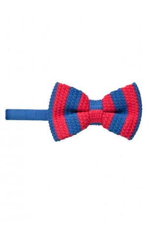 BRIGHT RED AND BLUE KNITTED BOW TIE