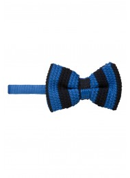BLUE AND BLACK KNITTED BOW TIE