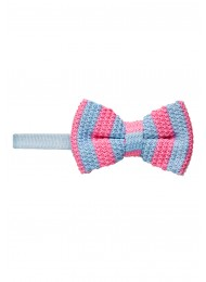 SKY BLUE AND PINK KNITTED BOW TIE