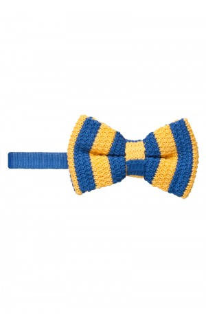 BLUE AND YELLOW KNITTED BOW TIE