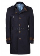 COTTON TWILL NAVY TRENCH COAT