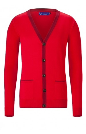 SUPER SOFT COTTON RED CARDIGAN