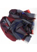 FINEST ITALIAN VIRGIN MERINO WOOL NAVY/RED STRIPED SCARF