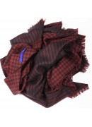 ITALIAN VIRGIN WOOL BURGUNDY/NAVY SCARF