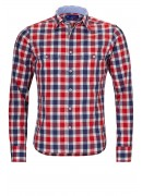 RED AND BLUE CHECK COTTON SHIRT