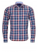 BLUE AND PINK CHECK COTTON SHIRT