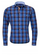 BLUE AND ORANGE CHECK COTTON SHIRT