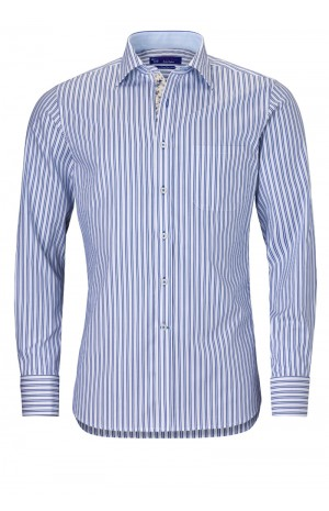 NAVY DOUBLE STRIPED COTTON SHIRT