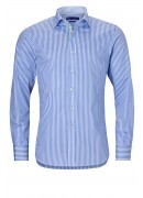FINEST  PORTUGUESE COTTON BLUE STRIPED SHIRT