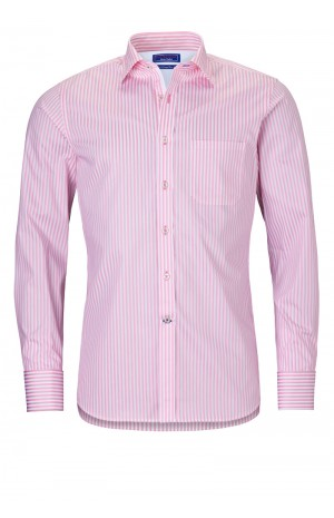FINEST PORTUGUESE COTTON PINK STRIPED SHIRT