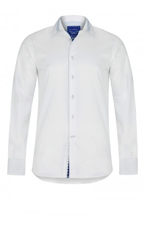 PIMA COTTON, WHITE TWILL SHIRT WITH BLUE DETAILS