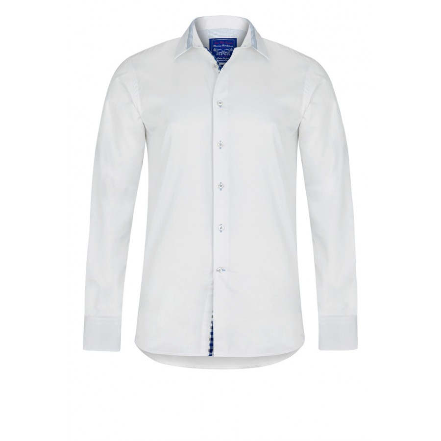 Pima Cotton White Twill Shirt With Blue Details