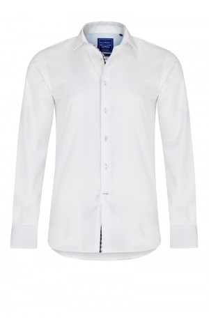 PIMA COTTON WHITE TWILL SHIRT WITH PINK DETAIL