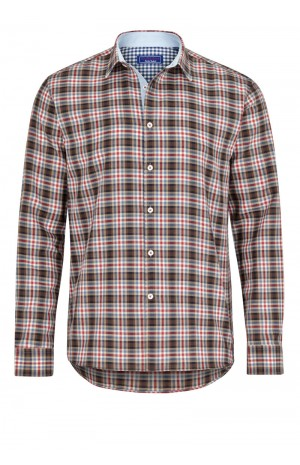 BROWN, RED AND BLUE CHECKED CASUAL SHIRT
