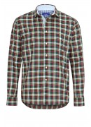 GREEN, RED AND YELLOW CHECKED CASUAL SHIRT