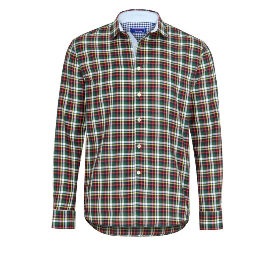 Green red and yellow checked casual shirt for Red and green checked shirt