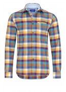 PURPLE, YELLOW AND BLUE FLANNEL PLAID SHIRT