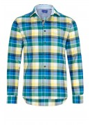 BLUE, GREEN AND YELLOW FLANNEL PLAID SHIRT