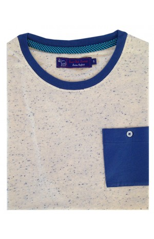 COTTON WHITE WITH BLUE DOTS ROUND NECK T-SHIRT