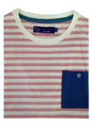 COTTON PINK & WHITE STRIPES ROUND NECK T-SHIRT