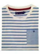 COTTON BLUE & WHITE STRIPES ROUND NECK T-SHIRT
