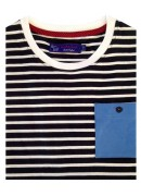 COTTON NAVY & WHITE STRIPES ROUND NECK T-SHIRT