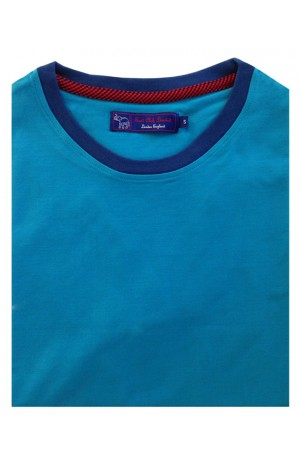 COTTON GREEN BLUE  ROUND NECK T-SHIRT