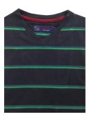 COTTON NAVY WITH GREEN STRIPES  V-NECK T-SHIRT