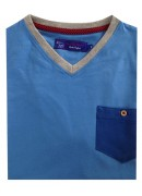 COTTON MID BLUE  V-NECK T-SHIRT