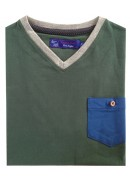COTTON DARK OLIVE GREEN  V-NECK T-SHIRT
