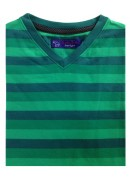 COTTON GREEN STRIPES  V-NECK T-SHIRT