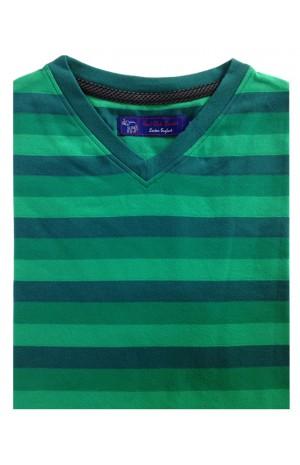COTTON GREEN STRIPES  V-NECK T-SHIRT